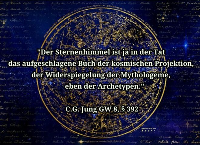 Grafik C.G. Jung Zitat über Sternenhimmel und Archetypen